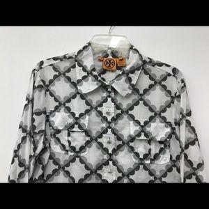 Tory Burch Tops - Tory Burch Gray Black White Shirt Geometric SZ 14